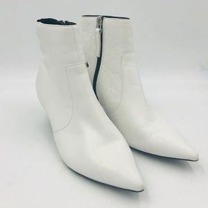 TOP SHOP White Vegan Ankle Boots Kitten Heel